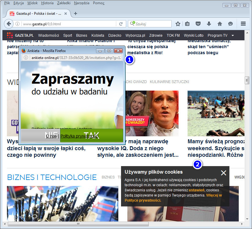 Pop up gazeta.pl