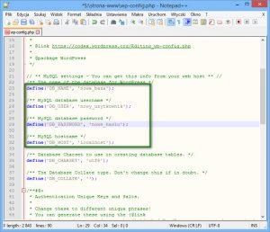 Plik wcześniej wyeksportowanej bazy danych otworzonej w edytorze tekstu Notepad++