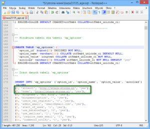 Masowa zmiana adresów URL pliku bazy danych w edytorze tekstu Notepad++