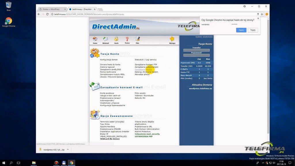 Direct Admin - sekcja bazy danych