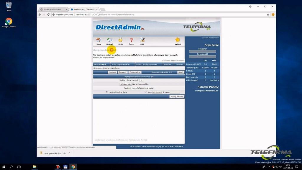 Dodawanie nowej domeny internetowej