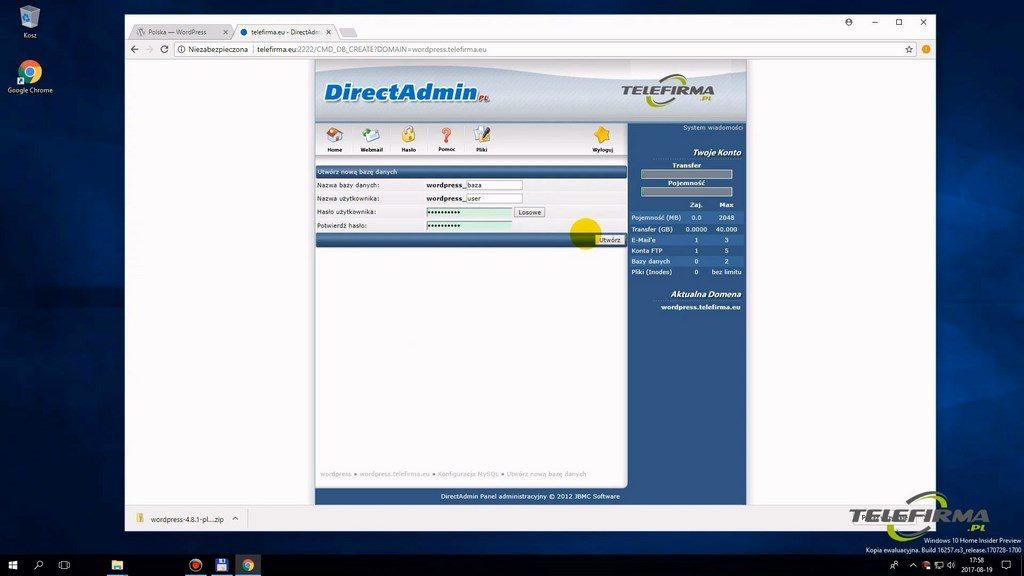Direct Admin - tworzenie bazy danych