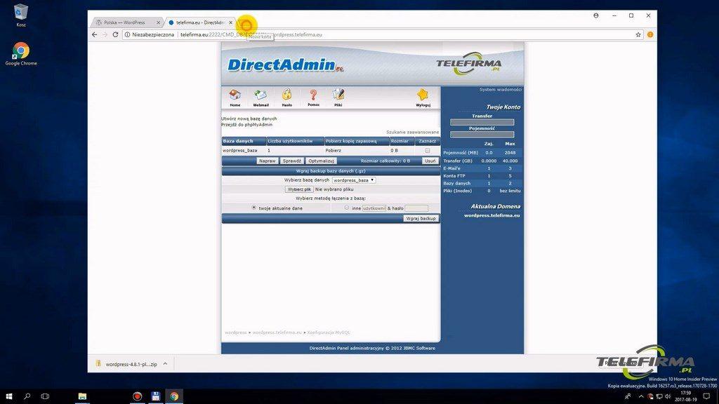 Direct Admin - utworzona baza danych