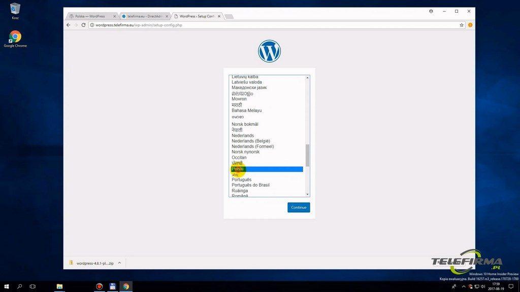 Wordpress - wybór języka