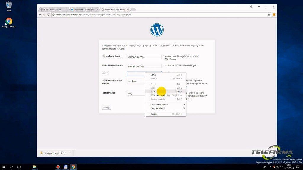 Instalacja WordPressa - parametry