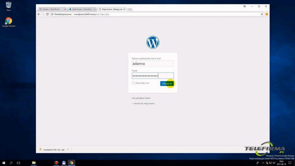 Wordpress - logowanie do kokpitu